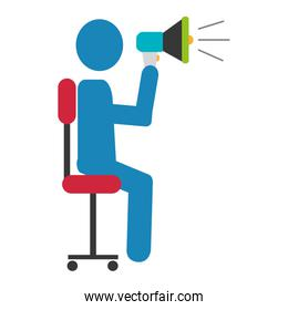 user silhouette with megaphone sound