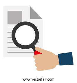 hand human with magnifying glass and documents