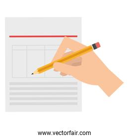 hand writing with pencil in documents