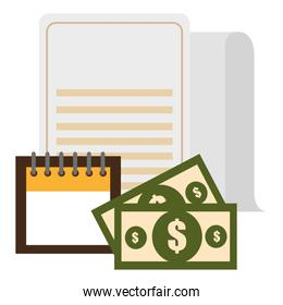 documents with calendar and money