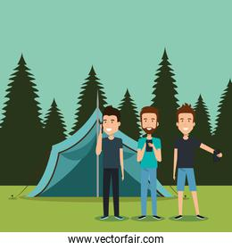boys with smartphones in the camping zone