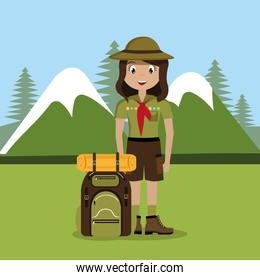 girl scout in the camping zone