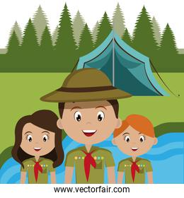 group of scouts in the camping zone