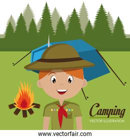 boy scout in the camping zone
