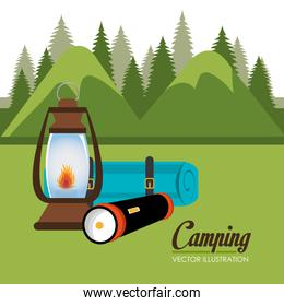 camping zone with equipment scene