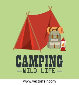 camping wild life with tent