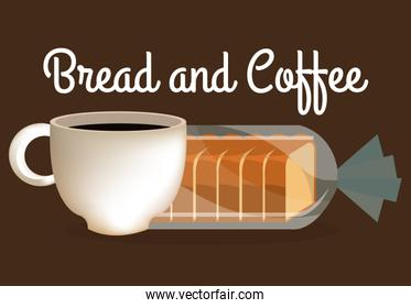 delicious halved bread and coffee label
