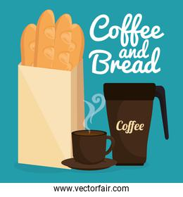 delicious french bread and coffee label