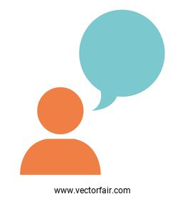 user silhouette with speech bubble