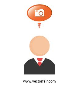 businessman with speech bubble and camera