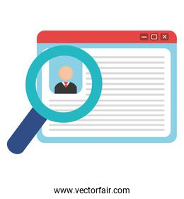 id document with magnifying glass