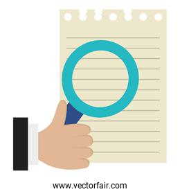 hand with magnifying glass and sheet notebook