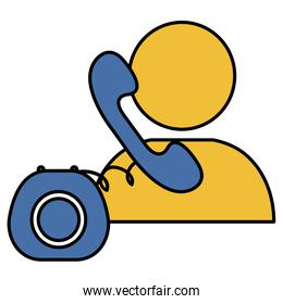 user silhouette with telephone