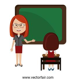woman teacher with chalkboard and girl