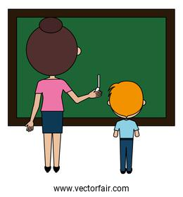 woman teacher with chalkboard and boy