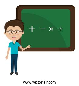man teacher iwith chalkboard avatar character