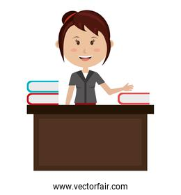 woman teacher in desk avatar character