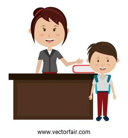 woman teacher with desk and boy