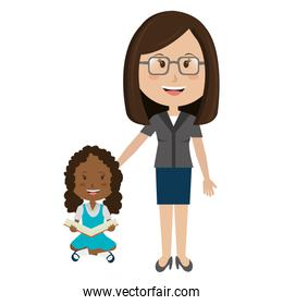 woman teacher with girl avatar character