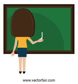 woman teacher with chalkboard avatar character