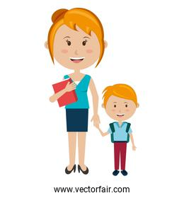 woman teacher with boy