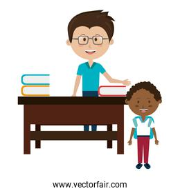 man teacher with desk and boy
