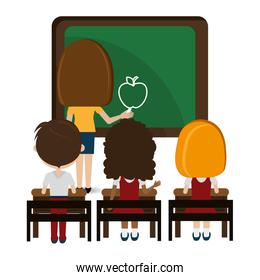 woman teacher with chalkboard and students classroom