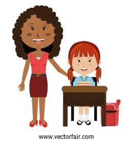 woman teacher with girl in chair
