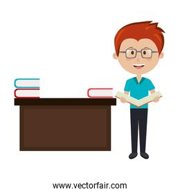 man teacher with desk and books avatar character