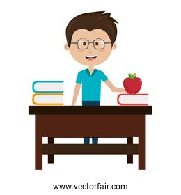 man teacher with desk and apple