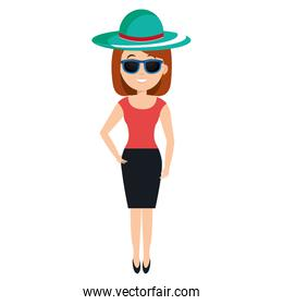 woman with hat and sunglasses