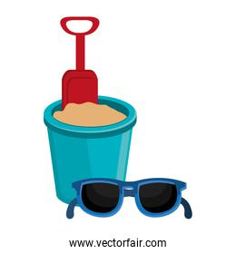 sand bucket with sunglasses