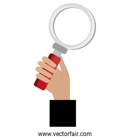 hand human with magnifying glass