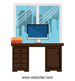 office workplace with desk and desktop scene