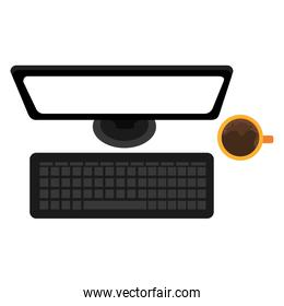 computer desktop with coffee cup
