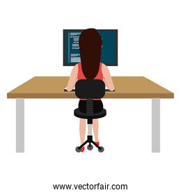 user female with computer desktop
