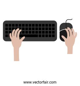hands typing in keyboard and mouse