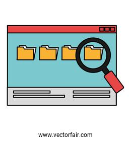 webpage with magnifying glass and folders