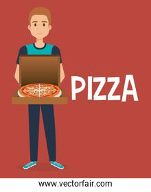 young man with italian pizza