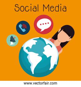 woman with social media icon