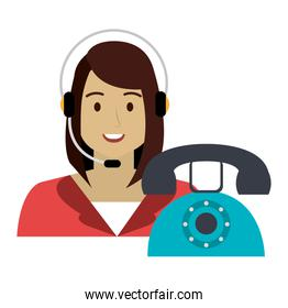 call center woman with headset and telephone