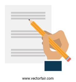 hand writing with pencil in documents paper