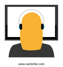 call center woman with headset and display
