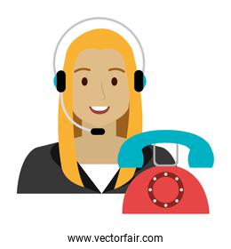 isolated call center woman with headset and telephone