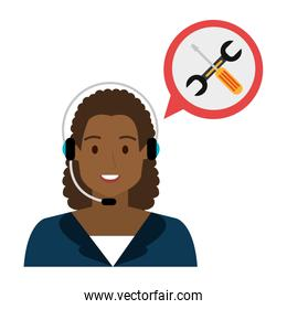 call center woman with speech bubble and tools
