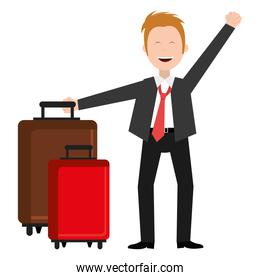 businessman happy with suitcase avatar character