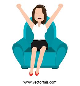 happy businesswoman relaxed in sofa