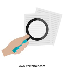 hand with magnifying glass and documents