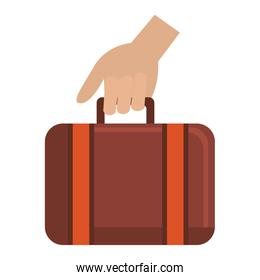 hand with suitcase travel