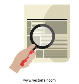 magnifying glass with documents